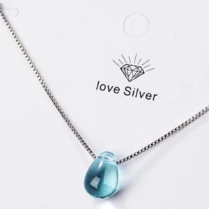 Blue Crystal Drop Sterling Silver Necklace
